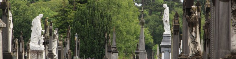 Headstones and sculptures at the Victorian Cemetery at Glasnevin
