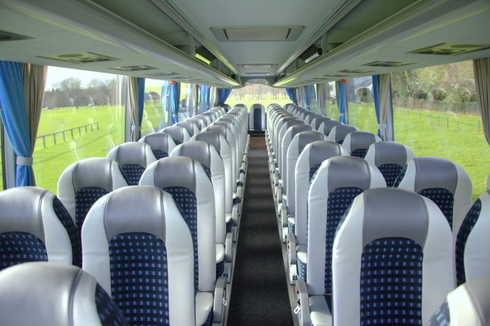 Interior of a 53 Seats Bus Used  for Group Airport Transfers in Dublin