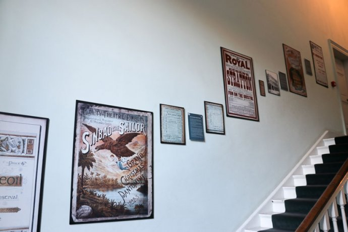 Staircase with literary wall display