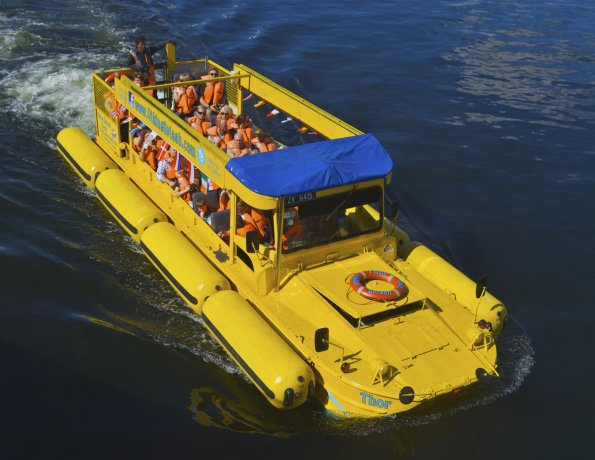 ...and the Viking Splash Tours Vehicle can go by water!