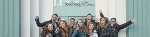 Group of Students Outside Windmill Lane Recording Studios Main Entrance