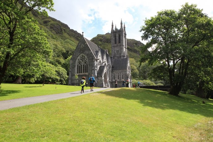 The neo gothic church at Kylemore Abbey is a miniature cathedral