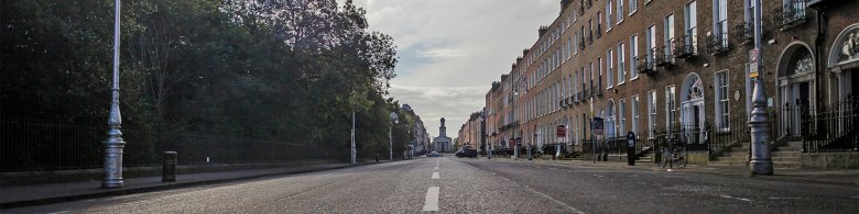 View of road by Dublin Merrion Sqaure