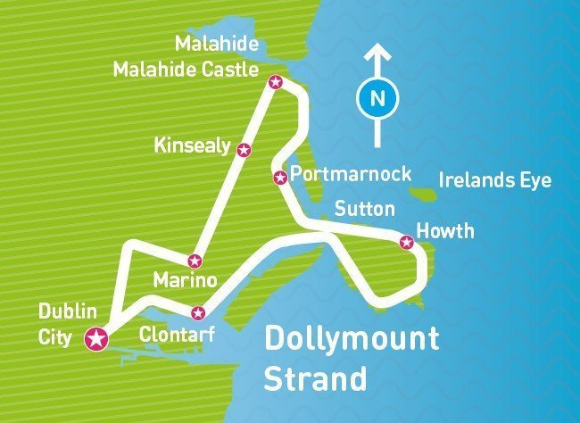 Map of Your Day Trip to Malahide and Howth