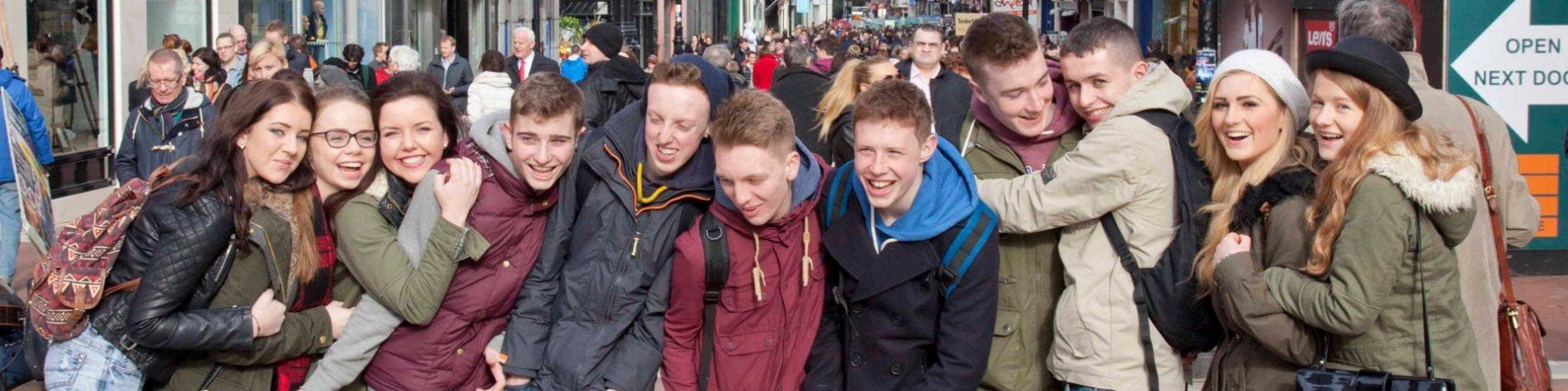 Group of students on a tour in Dublin - exploring the town centre