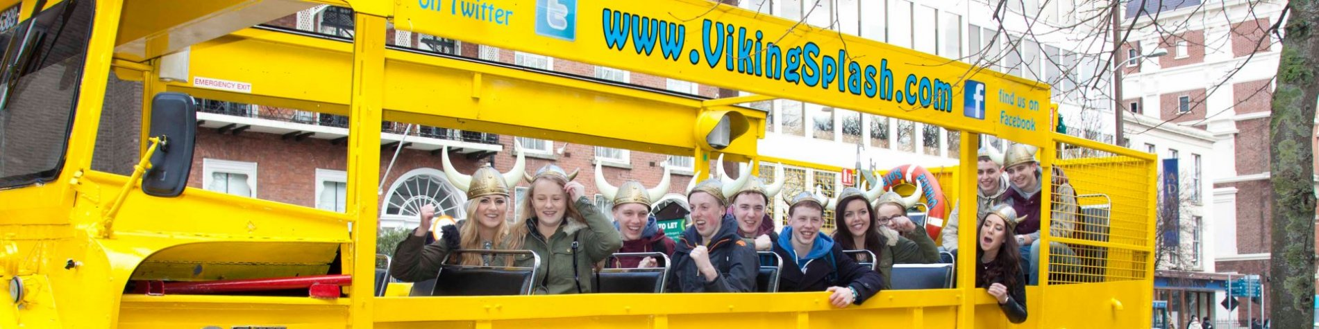 Group of students on a tour in Dublin - riding the Viking Splash amphibious vehicle