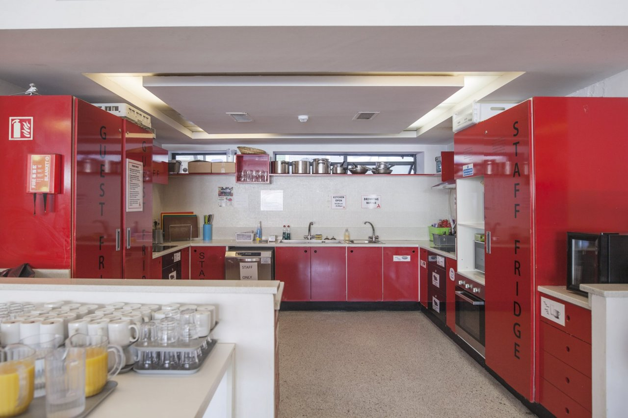 Self-Catering Kitchen in Hostel with Facilities for Guests, Fridges, Hobs, Ovens and Microwaves
