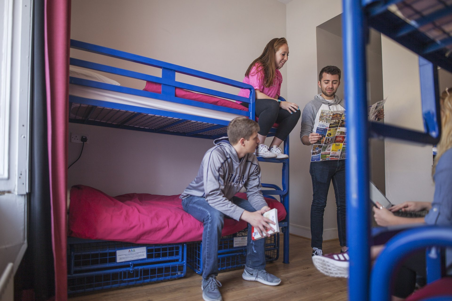 Tourists in Double Twin Room Hostel Accommodation Bunk Beds