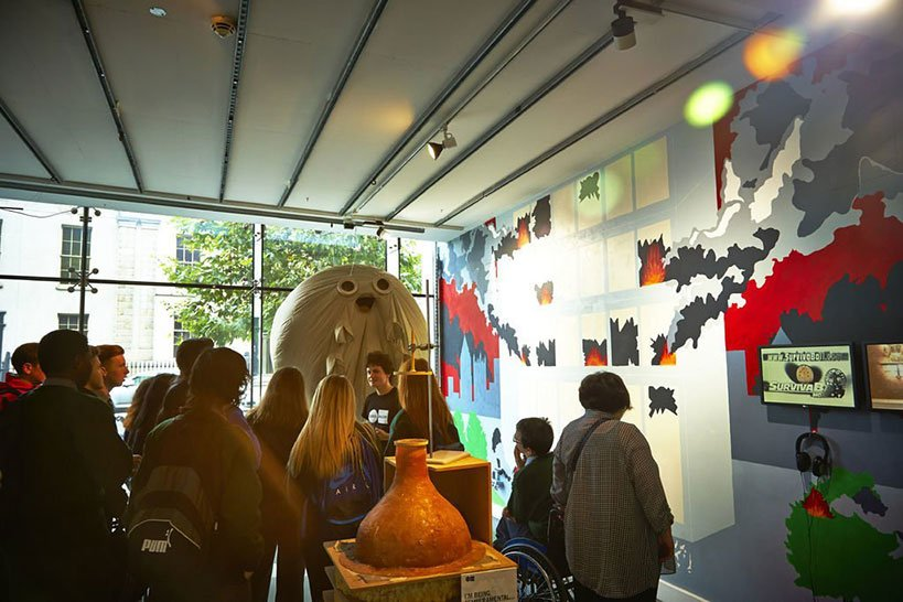 Group of tourist learning at the Science Gallery