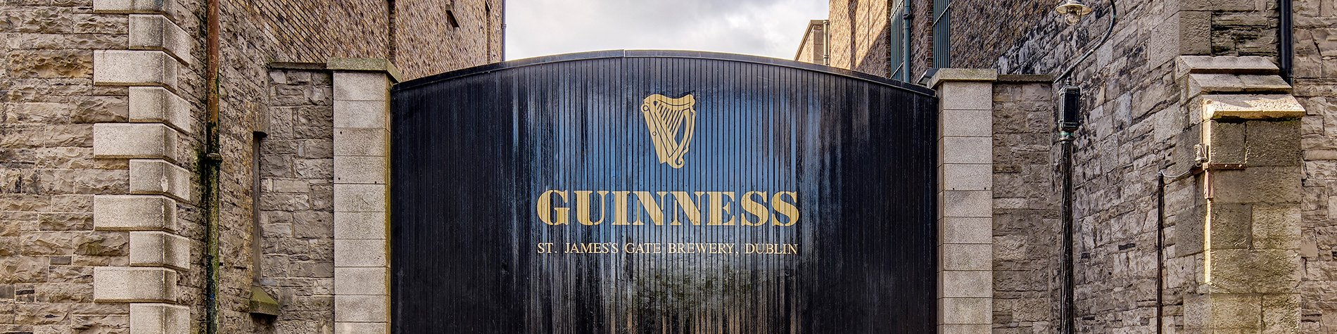 Main Gates to Guinness St James's Gate Brewery in Dublin