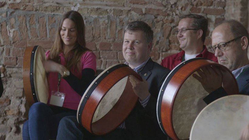 Grout of people taking a Bodhrán Drum Lesson - Ireland Tours