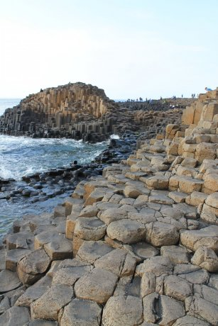 Basalt Pillars of Antrim washed by Atlantic Waves