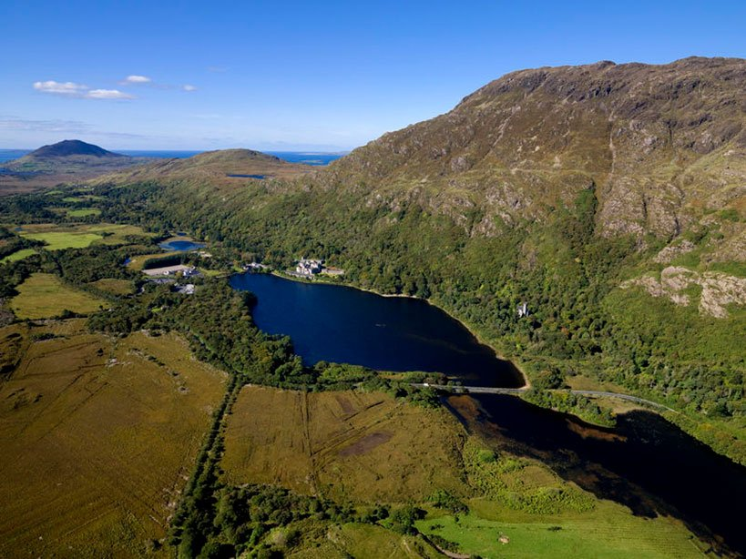 Kylemore Abbey and Lake See from Above