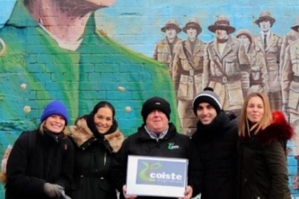 Group of People with Coiste Tour Guide at the back Mural with Irish Political Theme
