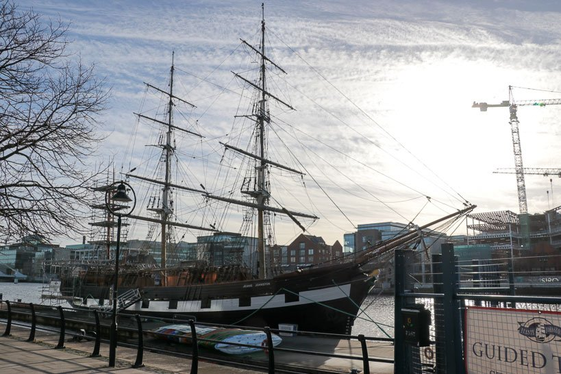 The Jeanie Johnston Tall ship at quay on the river Liffey
