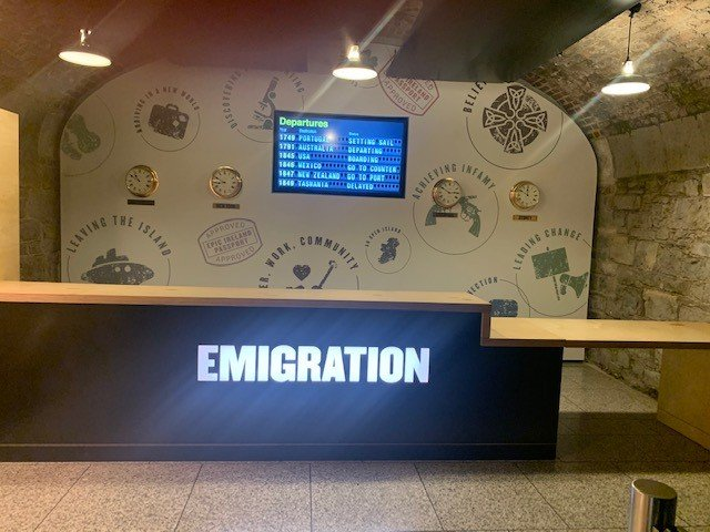Emigration desk display at Epic museum