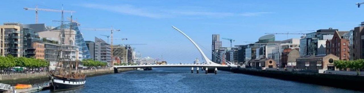 Panoramic view over the river Liffey with the Jeanie Johnston and the Samuel Beckett bridge in the backdrop