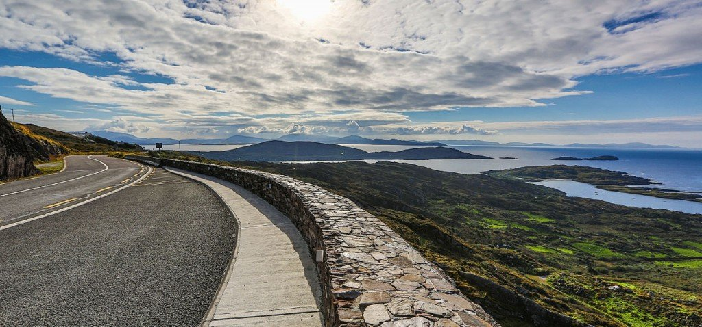 Ring of Kerry Road - View of Hills and Atlantic Coast