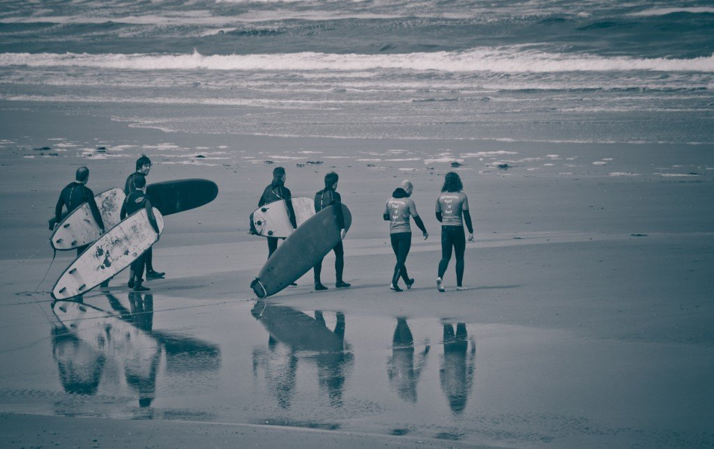 Group of Surfers on the Atlantic Beach Near Strandhill